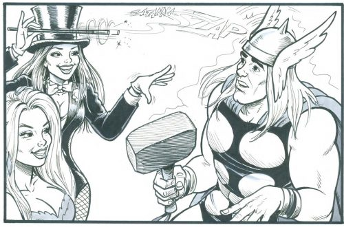 Cosplay fun in Comic Con One as Zatanna casts a spell on a hapless Thor.