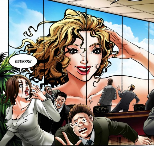 A giantess Melinda takes a peek at a penthouse office in Giantess Therapy by DreamTales.
