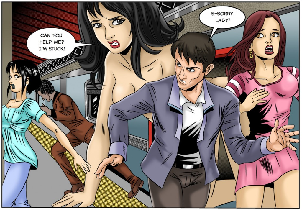 A subway rider becomes a giantess in the Roppongi Twins.
