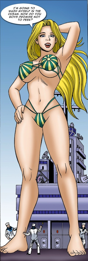 A giantess Suzy on an aircraft carrier in Skyscraper Suzy, a Giantess Comic by DreamTales.