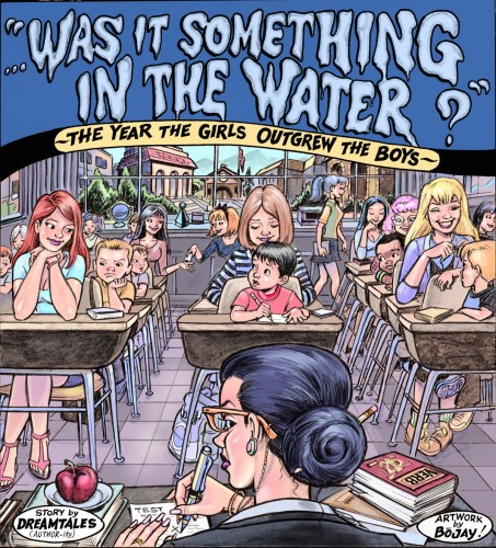 Students mysteriously grow into tall sexy women and shrink into immature little boys in Something in the Water by Bojay and DreamTales
