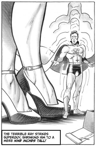 Another zap of the shrinking ray reduces Superguy to doll size!