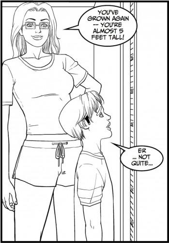 Luke checks his height in Yard Work 7.